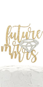 gold future mr and mrs cake topper