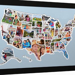printing, map maker, travel, photo map, push pin map, collage