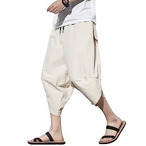 pipigo Mens Casual Linen Loose Lightweight Harem Pants Trousers