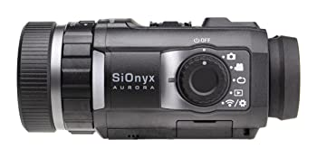 sionyx aurora black night vision camera product shot (side) showing shooting & playback modes