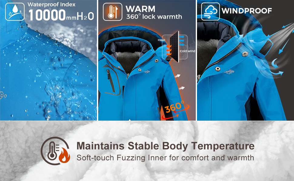 Wantdo Boy's 3 in 1 Waterproof Ski Jacket