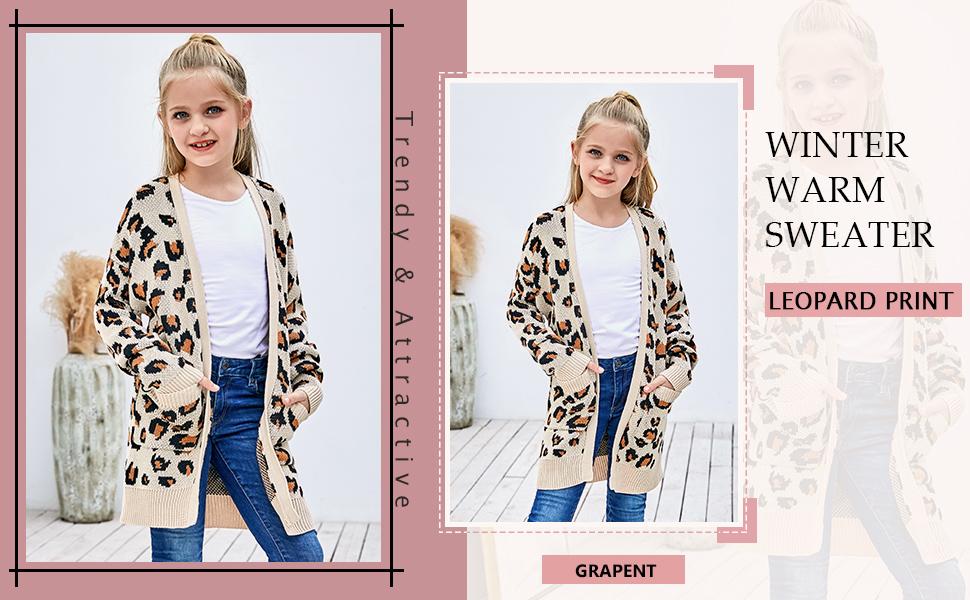 GRAPENT Girls Leopard Print Open Front Long Sleeve Cardigan Pocket Sweater Outwear 4-13 Years