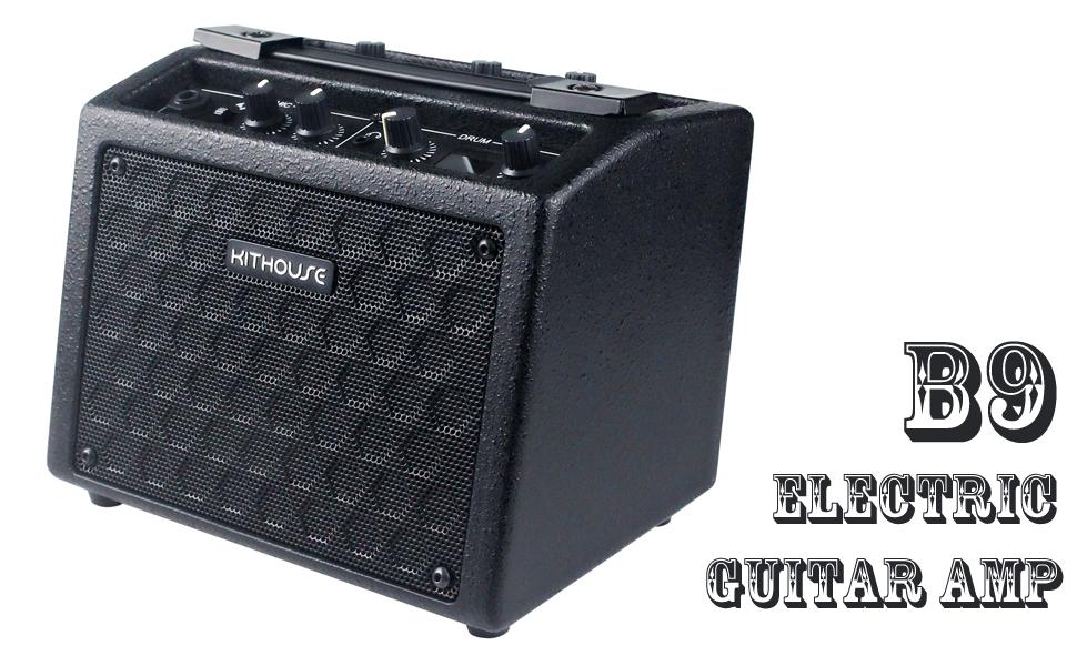 SNOWINSPRING B6 Guitar Headphone Amp Plug Guitar Amplifier Rechargeable for Electric Travel Pocket Guitar Mahogany Color