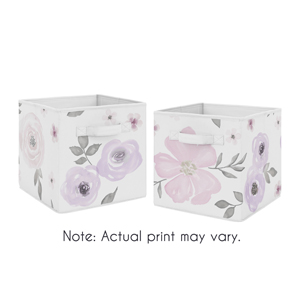 Lavender Purple, Pink, Grey and White Organizer Storage Bins for Watercolor Floral Collection