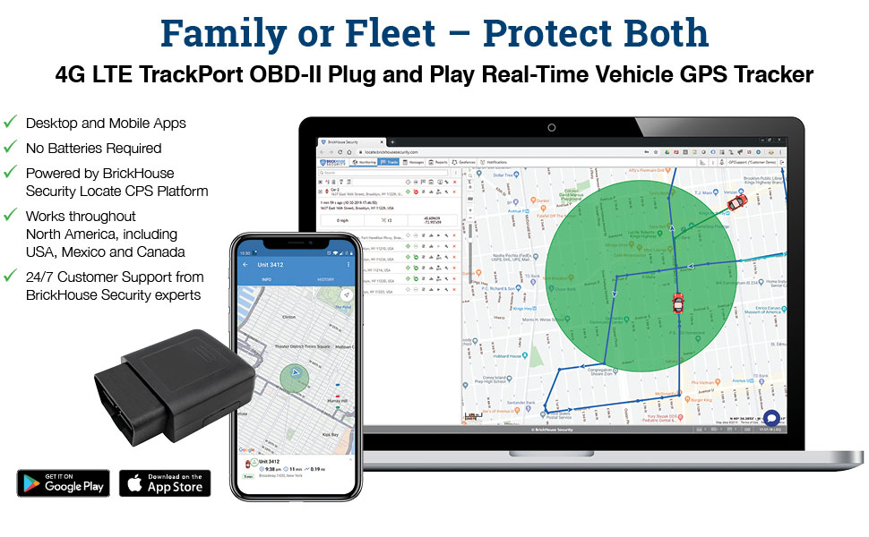 4G LTE TrackPort OBD-II Plug abd Play Real Time Vehicle GPS Tracker