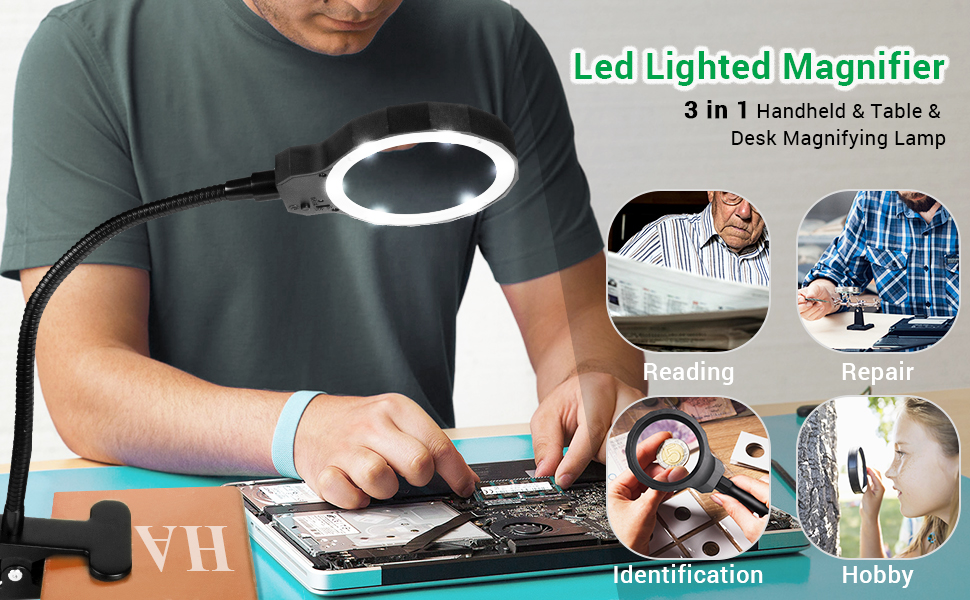 Repair Needlework Handheld magnifier Magnifier Dual Use Handheld ...