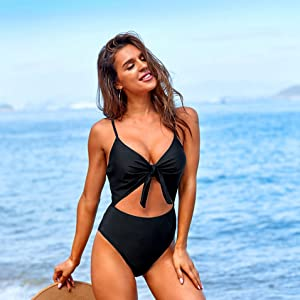 Plunge one piece swimsuits
