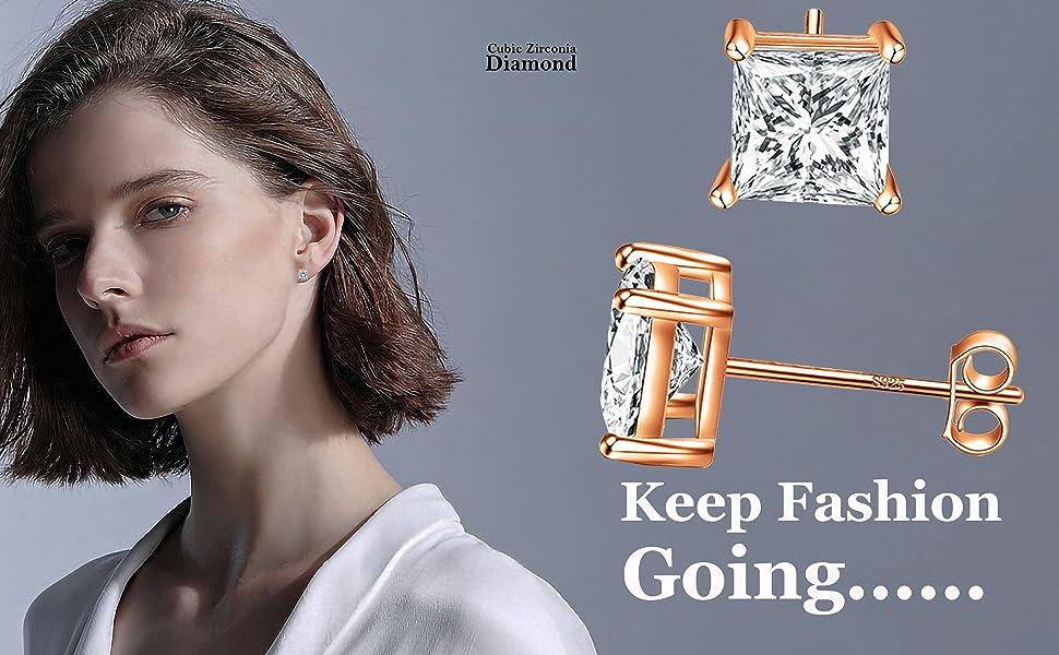 Fashion Gilrs Gold Plated Multi-Coloured Tetris Zirconia CZ Earrings Jewelry