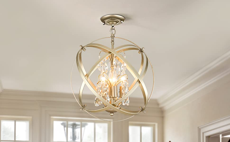 Amazon Com Modern Flush Mount Crystal Chandelier 4 Lights Pendant Light With Champagne Gold Finish Hanging Fixture For Dining Room Living Room Home Improvement