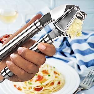 Garlic Press Stainless Steel Mincer Crusher Peeler Chopping Garlic Crush Garlic