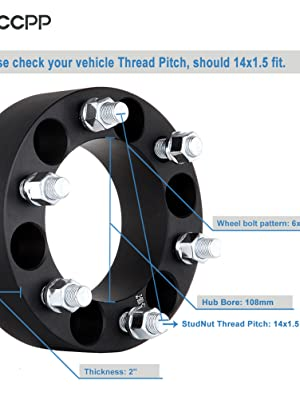 PUENGSI 6X5.5 Wheel Spacer Fits Chevy Silverado GMC Sierra 1500 HD 3 Thread Pitch M14x1.5 Hub Bore 108mm 4PCS Black Forged Hubcentric Wheel Adapters 6x5.5 to 6x5.5 139.7mm 75mm