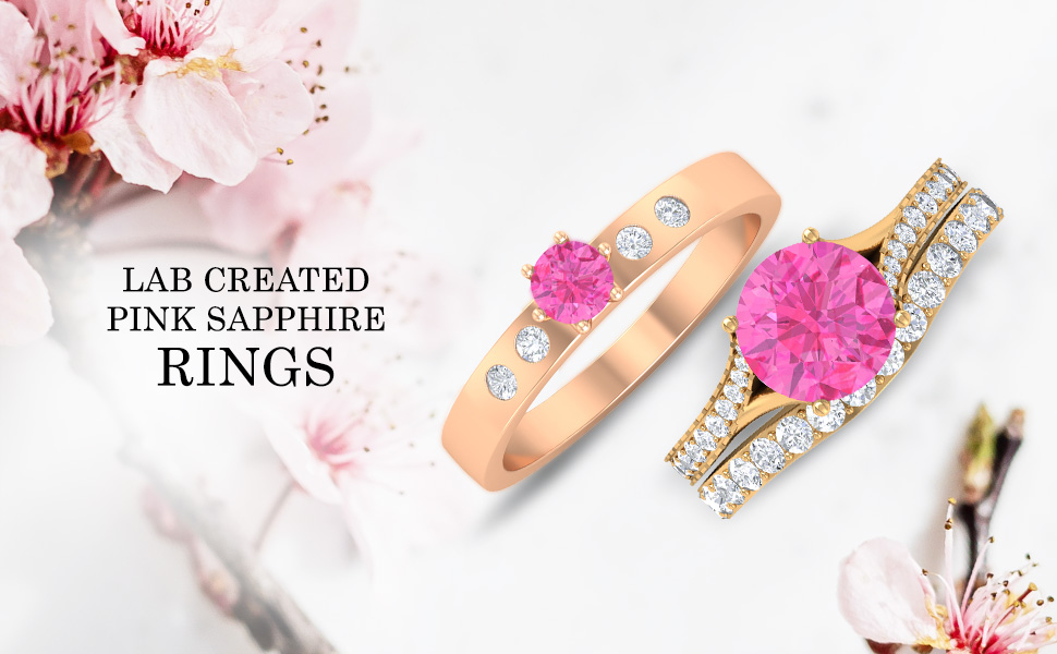 banner Lab Created Pink Sapphire Rings