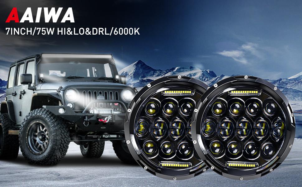 AAIWA 2 Pezzi 7 Pollici Nero 75W LED Drive Faro Jeep Faro 97-2017 JK TJ LJ Chip LED CREE Fascio Hi//Lo da 9600 Lumen con Anello Halo Angel Eyes DRL /…