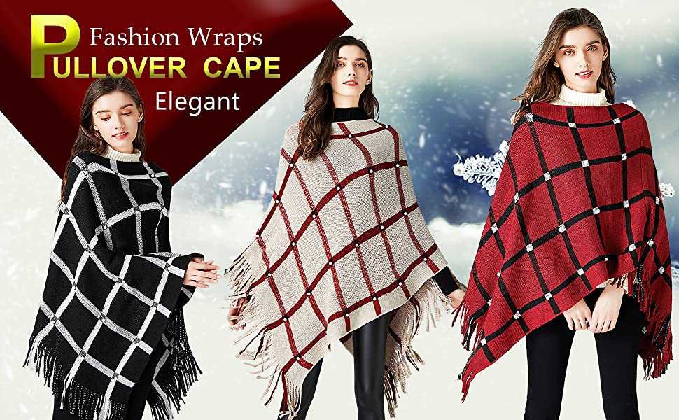 Women's Knitted Poncho Pullovers Sweater