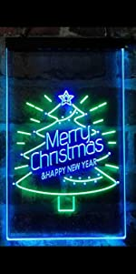 ADVPRO Dual Color LED Neon Sign light Merry Christmas Xmas tree star big font text warm atmosphere