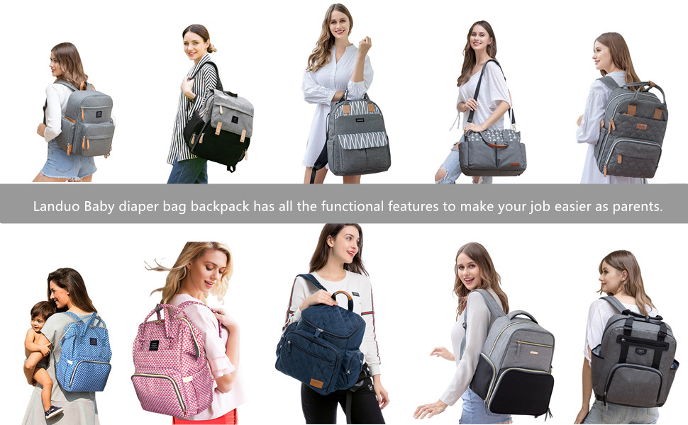 Landuo Diaper Bag Backpack Maternity Baby Nappy Changing Bag Ideal for Mom and Dad Large Capacity and Stylish Organizer for Baby Care