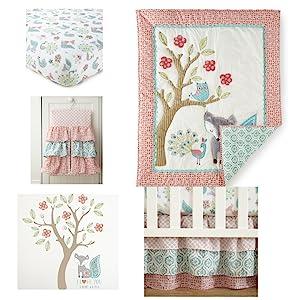 Fiona Fox set includes sheet diaper stacker quilt decals bedskirt