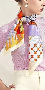 Elegante semplice sciarpa da chevel quadrato, accessorio in seta pura di lusso