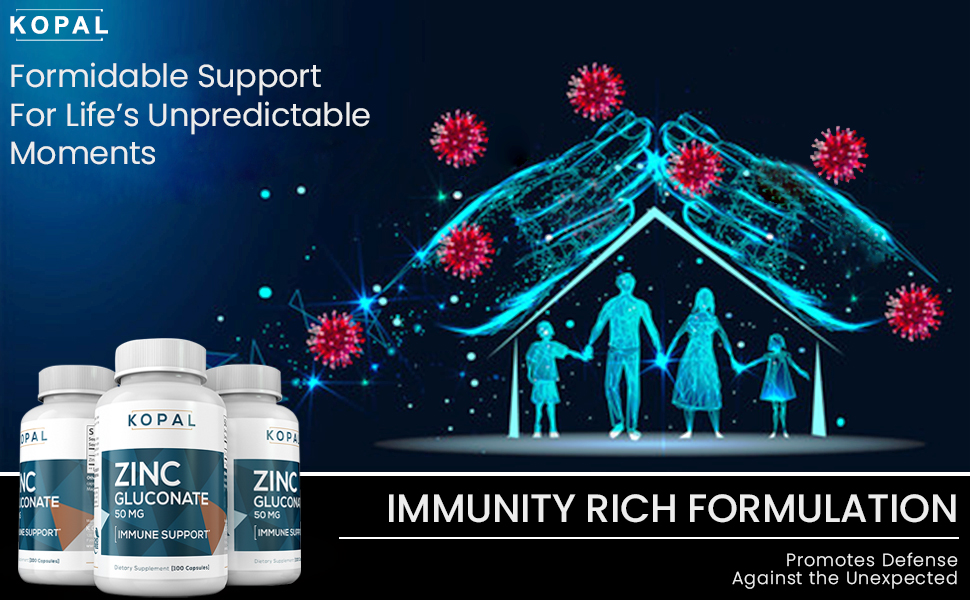 Zinc Vitamin Supplements, Superior Immune Support, Acne Defense, Gluten Free Non-GMO Capsules