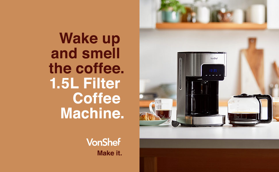 Filter coffee maker machine vonshef 1.5 litre stainless steel coffeemaker, brewer, electric coffee