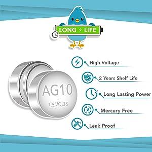 AG10 LR1130 button cell batteries