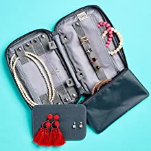 travel necklace, small travel jewelry case, travel necklcase case, portable jewelry organizer case