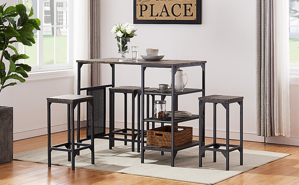 Super Ok Furniture 5 Piece Dining Room Table Set Bar Pub Table Set Industrial Style Counter Height Kitchen Table With 4 Backless Bar Stools For Dining Andrewgaddart Wooden Chair Designs For Living Room Andrewgaddartcom