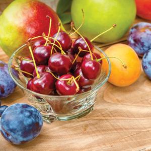 Fresh Cherries, Mangos, and Peaches for Salsa