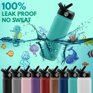 kids boys girls insulated double wall children straw lid sports water bottle customized personalized