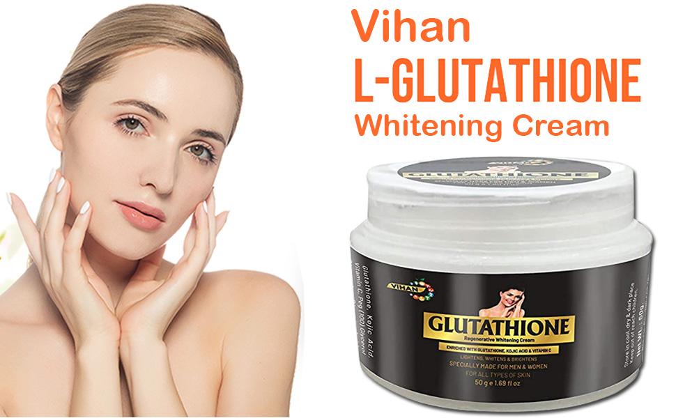 Vihan L- Glutathione Cream for Skin Whitening, Enrich with Kojic Acid Vitamin C