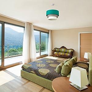 Turquoise plafondlamp voor slaapkamer