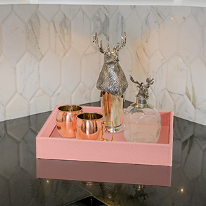 faux leahter pu leather perfume tray decorative tray