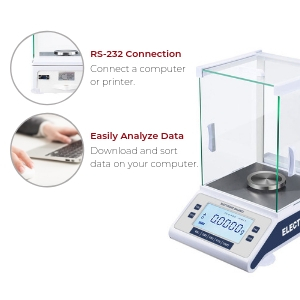 Milligram scale balance analytical internal calibration scientific 0.1mg 0.0001g lab