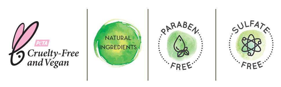 cruelty free, vegan, natural ingredients, paraben free, sls free