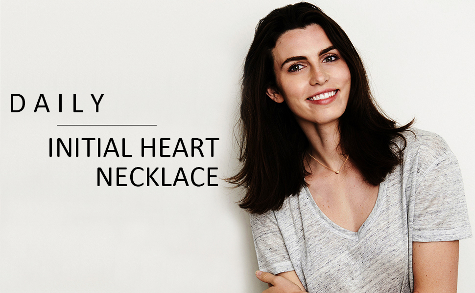 Tiny Gold Initial Heart Necklace Choker Personalized Letter Alphabet Dainty Jewelry for Women Gift