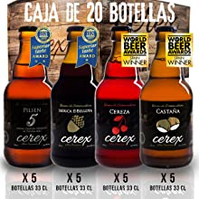CEREX- Pack Degustación de 8 Cervezas Artesanas - Cerveza de Castaña, Ibérica de Bellota, Cereza y Pilsen: Amazon.es: Alimentación y bebidas