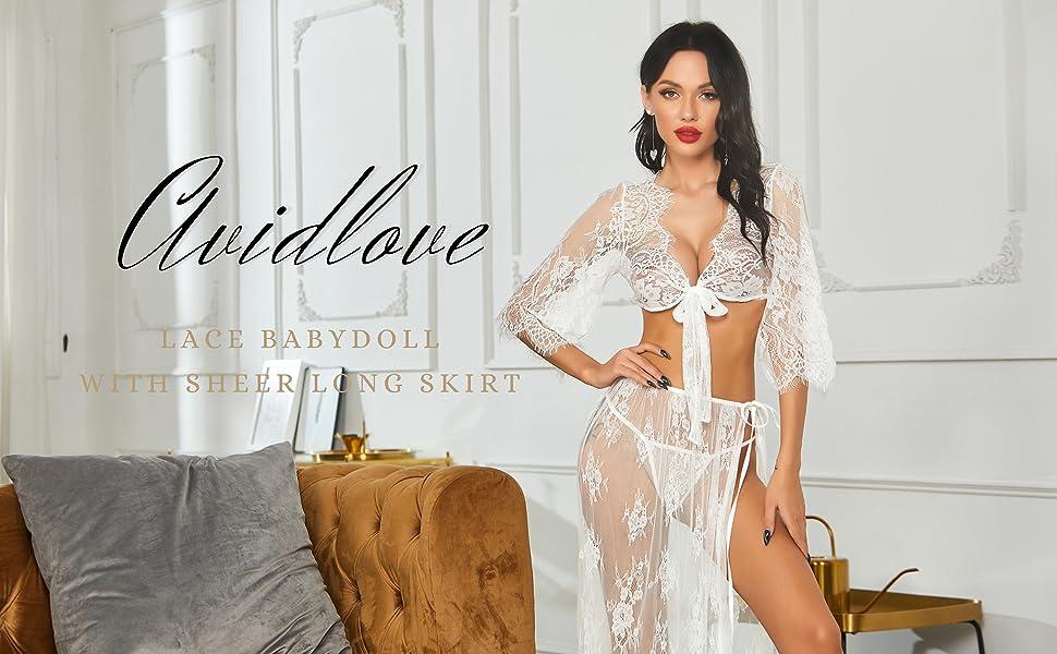 White lingeire robe