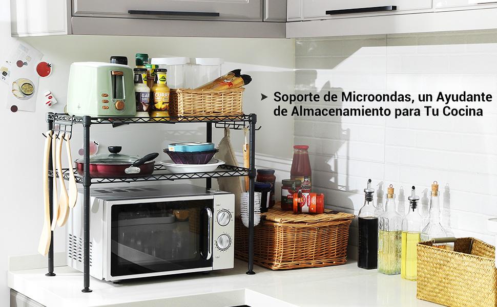SONGMICS Estante para Horno de Microondas, Soporte Organizador de 2 Niveles para el Mostrador de la Cocina, con 2 Estantes Ajustables y 8 Ganchos, ...