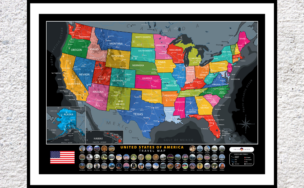 Scratch Off Map of The United States - All US National Parks Scratch Off  Poster - Complete Scratch Off USA Map Kit – Includes 50 Landmarks & ...