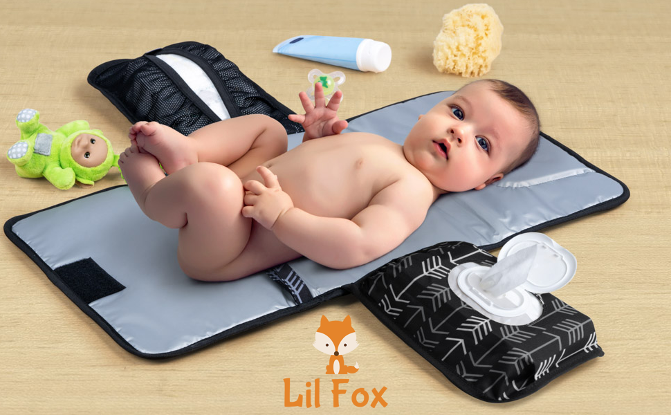 Portable Diaper Changing Pad for Baby Boys Pee Bag Clutch Changer with Foam Pillow /& Wipes Pocket for Infant Newborn Baby Shower Gift Nursery Essentials Girls Waterproof Travel Change Mat