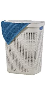 off white laundry hamper slim and tall with lid and cutout handles