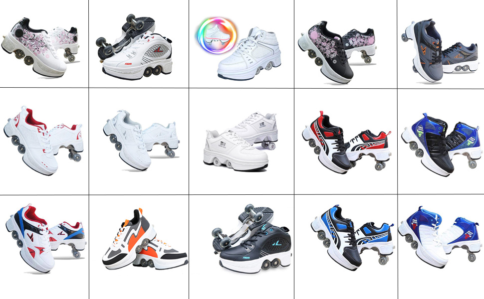 Multi-colored Deformation Roller Shoes