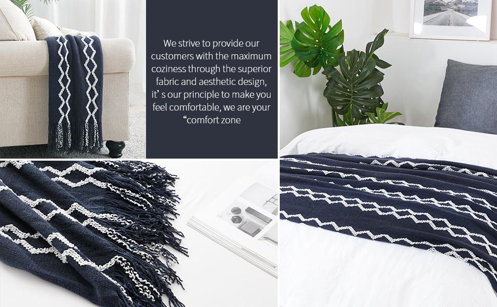 navy chenille blanket