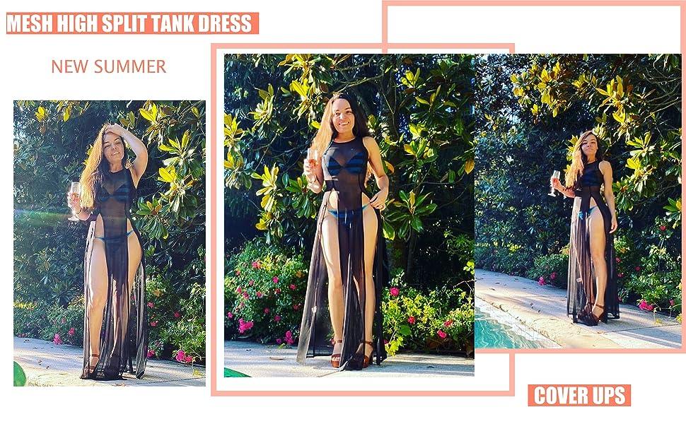 Mesh cover ups for swimwear women sheer see through dresses for women