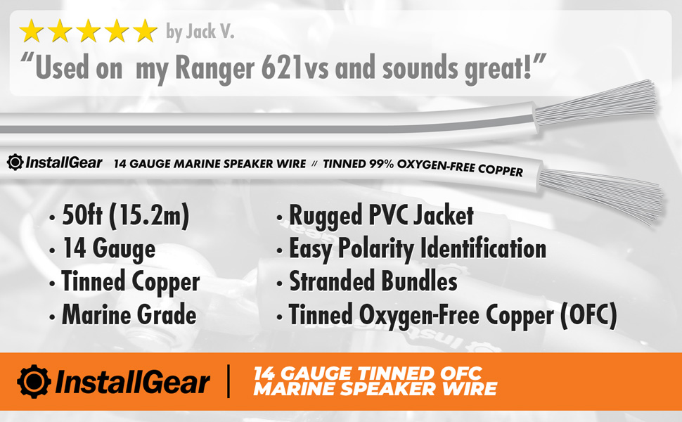 Speaker Wire Gauge >> Installgear 14 Gauge Tinned Ofc Heavy Duty Boat Marine Speaker Wire 50 Feet