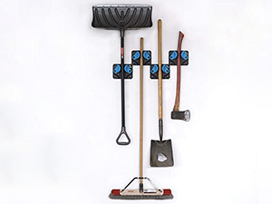 Holds shovels, rakes, brooms, axes, skateboards, longboards, and more