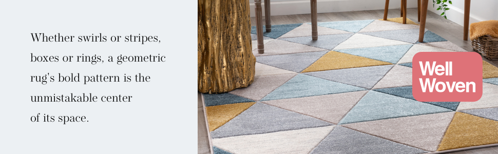 Well Ruby yellow gold ivory blue grey geometric lines boxes triangles squares area rug.