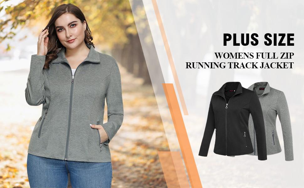 Hanna Nikole Women Stand Collar Pockets Plus Size Casual Zip Jacket