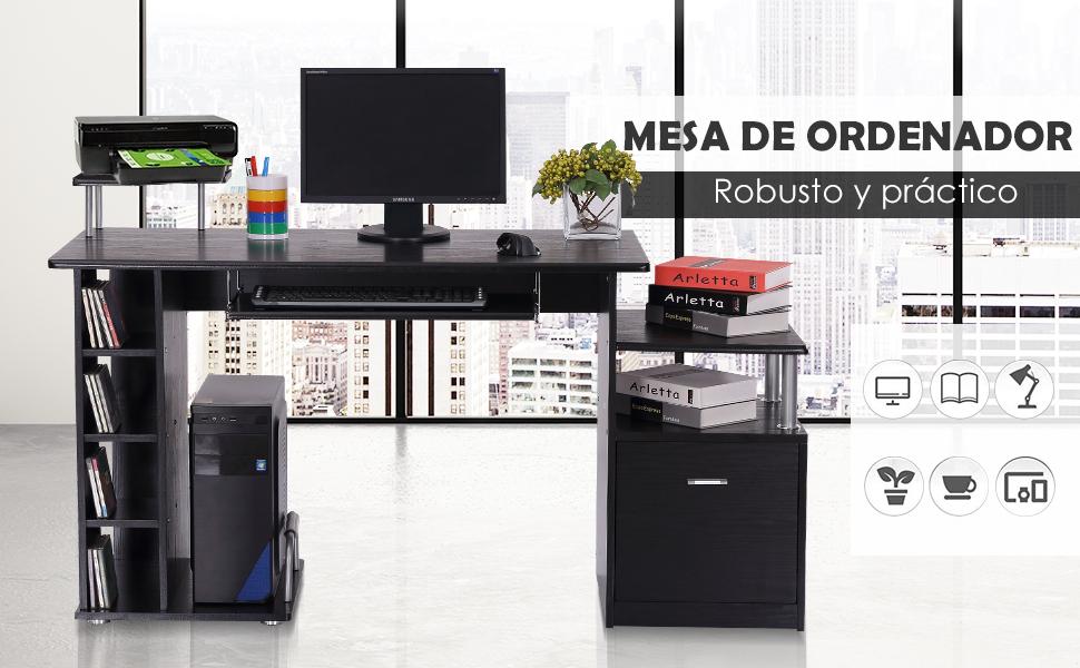 HomCom Mesa de Ordenador Escritorio para Oficina - Color Negro - Madera MDF - 152x60x88cm