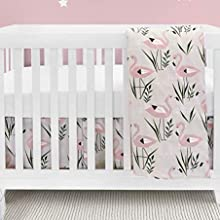 BEBELELO Baby Crib Bedding Set 4 Pieces Boys and Girls Blue and White Dinosaur Design Including: Fitted Sheet+ Crib Comforter+ Comforter Cover+ Skirt